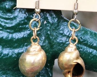 Gold Tone Pierced Shell Earrings