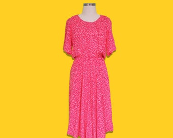 Vintage 80s Coral Pink Tea Dress • Retro Mid Sleeves Midi Dress • Spring Summer Abstract Floral Print • Made in England • S Small M Medium