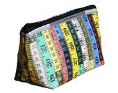 Makeup case measuring tape, FREE SHIPPING, vegan case, eco-friendly makeup bag, purse, recycled ethical gifts upcycling knitter sewer vegans