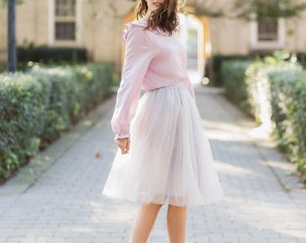 Silver tulle skirt | Light gray tulle skirt | Adult tutu skirt| Midi tulle skirt| Bridesmaids skirts| Bridesmaids dress| Womens tulle skirt|