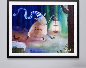 Animal Oil painting sheep, framed art, original oil painting, children art, modern art, oil painting on canvas, sheep painting, purple art