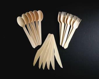 Set of 18 - Wooden Cutlery Set; 6 Forks; 6 Knives; 6 Spoons; Wood; DIY Bride; Tasting Fork; Fork; Utensil; Dessert Fork; Eco-Friendly