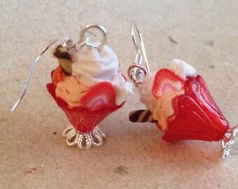 earrings strawberry ice cream, sundae red, miniature food