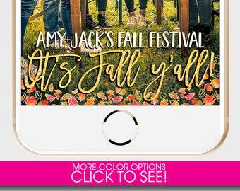 FALL SNAPCHAT GEOFILTER, Fall Festival, It's Fall Y'all, Snapchat Filter, Leaves Snapchat Filter, Custom Snapchat Filter, Halloween Snapchat