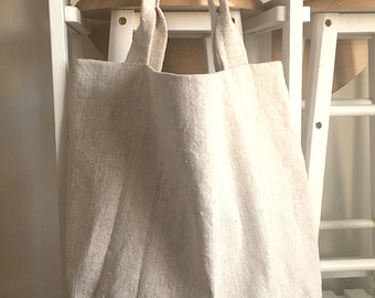 Natural Linen Bag - Canvas Bag - Linen Tote Bag - Washed Linen Bag - Big Market Bag - Beach Bag - Hanwoven linen bag
