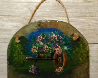 Upcycling Reclaimed Antique WV Roof Slate Spring / Summer Wheelbarrow Hand Painted / Drilled & Roped Large Slate Slider