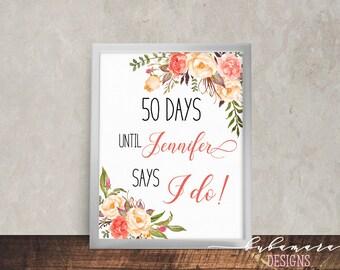 Printable Bridal Shower Countdown Sign Coral Peach Pink Flowers Days Until Bridal Reception Digital Bohemian Spring Bridal Poster - WS040