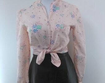 Pink Floral Blouse - Long Sleeve - Spots - S 8 10 *Please see SHOP ANNOUNCEMENT*