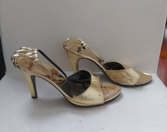 Gold Strappy Heels - Evening Sandals - Size 7 *Please SEE SHOP ANNOUNCEMENT*