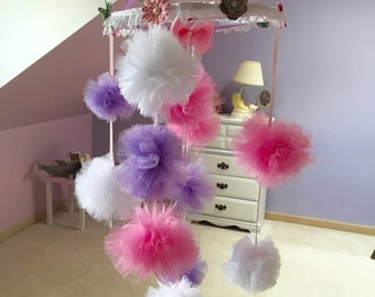 Baby girl mobile nursery mobile pom pom pink and purple