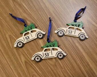 Herbie the love bug volkswagon inspired Christmas ornament