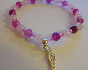 Bracelet pink agate, rose quartz, 6mm beads and seed beads, Tibet silver charm.