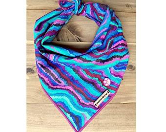Boho, Bohemian, dog bandana, tie dye dog bandana, tie-dyed, girl dog bandana, dog, puppy, dog accessories, large dog, dog scarf: SKYE