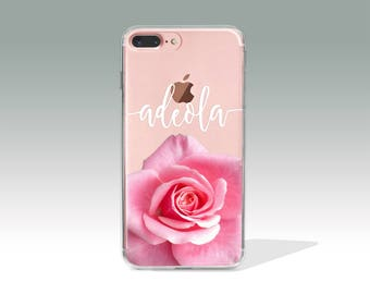 Personalized iPhone 7 Plus Case Rose iPhone 7 Case with Custom Name, Personalized Gift, Customized, Personalised, Custom Name Case// PC14
