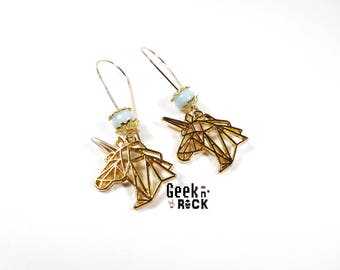 Unicorn pastel origami earrings
