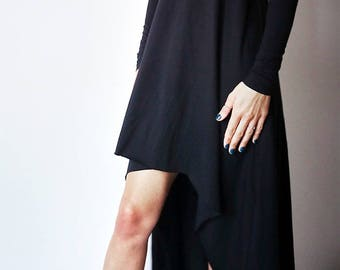 Black cotton Women's Maxi Dress/ Extravagant Long dress with high low bottom/Minimalistic Women's Dress with long sleeves
