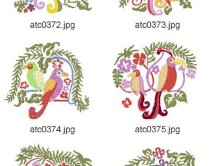 Caribbean-Birds. ( 10 Machine Embroidery Designs from ATW ) XYZ17F