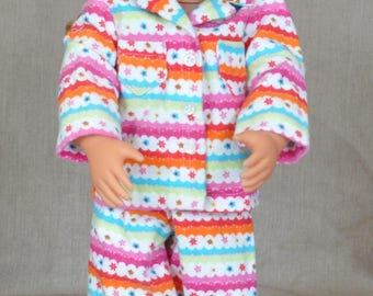 "Cute and cozy flannel pajamas for 18"" dolls including American Girl."