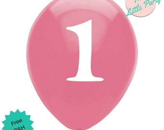 6 x 1st Birthday Balloons Pink Party Decorations