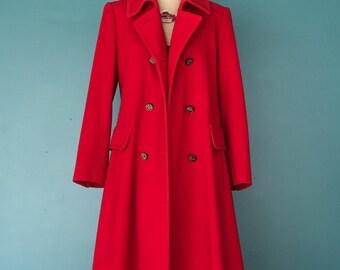 Long Red Coat. Oversized Coat. Vintage Red Coat. Classic Coat. Wool Coat. Vintage Winter Coat. Double Breasted Red Coat. Full Length Coat