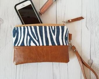 Navy Blue Wristlet - Wristlet Wallet - Womens Wallet - Faux Leather - Small Crossbody - Phone Wallet - Wristlet Purse - Bridesmaid Gift