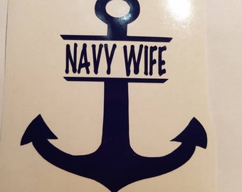 Anchor personalized Navy Decal w/name or title- permanent vinyl - great for Yeti & Rtic tumblers, laptops, car windows, home decor etc.
