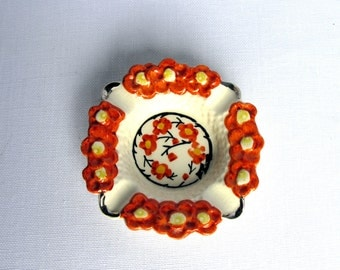 Japanese Porcelain Ashtray / Mid century / Floral / Orange / Hand painted / Sakura / Small Ashtray / Marked Import / Oriental / Japan / VTG