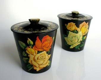 1960s / Biscuit Tin Canisters / Made in England / Set Of Two / Tea Tin / Rustic Kitchen / Yellow Roses / Large / Lidded/ Black Gold / Floral