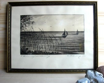 1945 / Sweden / Original / Ink Drawing / Artist Signed / Seascape / Framed /  Drawing / Mid Century / Sea / Boats / Sailboats/ Nordic Danish