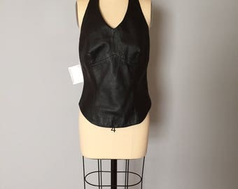 BLACK LEATHER halter top | leather corset top | 1990s black leather halter corset