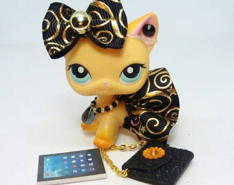 Littlest Pet Shop LPS custom   outfit clothes  accessories lot include lps skirt bow bag * Cat  not included *