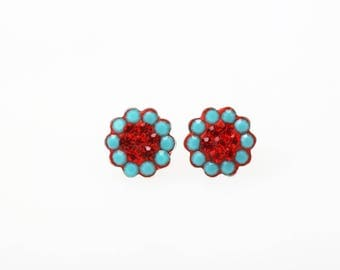 Sterling Silver Pave Radiance Stud Earrings, Swarovsky Crystals, 7mm Flower, Turquoise and Light Siam(Red) Color, Unique Korean Style