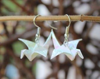 Origami crane earrings - self folded iridescent paper, reinforced, shimmering, mother of Pearl look