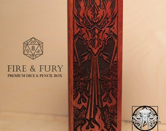 Dragon - Fire & Fury - RPG Dice and Pencil Box - Brazilian Cherry (Jatoba) With Laser Engraved Magnetic Lid