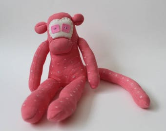 Polka Dot the Sock Monkey | Handmade, Birthday Gift, Baby Shower, Stocking Stuffer, Stocking Filler, Pink Monkey, Token Gift, Lost Sock