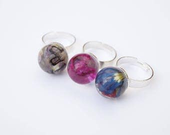 Flowers - resin jewelry ring adjustable rings