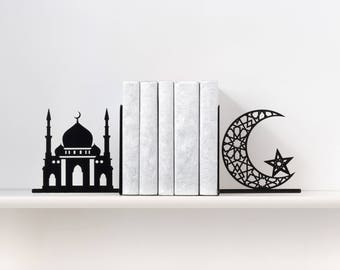 Bookends Islamic home decor Islam book ends Muslim Islamic gift Mosque bookend Crescent moon Star book end Metal bookends  - black