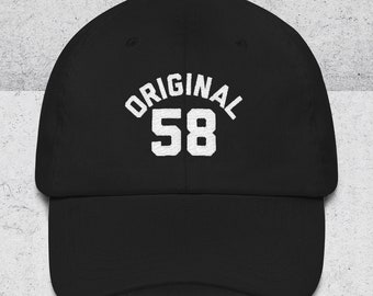 60th Birthday Gifts for Men & Women - 60th Birthday Dad Hats - ORIGINAL 58 Baseball Hat - 60th Birthday Gift Ideas -Black Dad Cap -1958 Hats