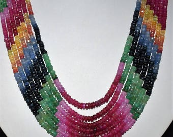"""Amazing 100% Natural Multi Sapphire Precious Stone Beaded, 7 Strand Designer Necklace 14-18"""" With Adjustable Length, For Valentine Gift"""