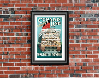 "Vintage Travel Poster - ""Cunard Line - To All Parts of the World"" - 11x17in"