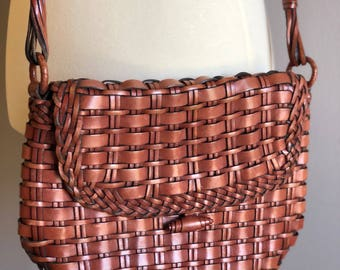 Vintage 80s Valerie Stevens Woven Leather Purse