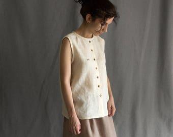 Linen white blouse linen tank top buttons rabbit white embroidered tank top loose linen shirt t-shirt grey sleeveless linen women's clothing