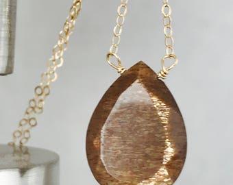 Sunstone Necklace Gemstone Necklace Raw Sunstone Necklace Healing Necklace Bohemian Necklace