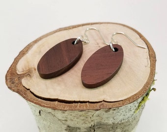 Oval Black Walnut Wood Earrings