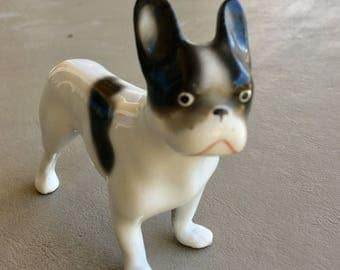 Vintage French Bulldog or Boston Terrier Dog Figurine Erphila with Broken Leg