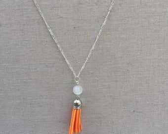Orange Tassel Necklace