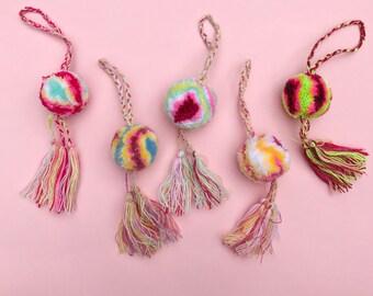 Mexican pom pom, Pom pom bag charm, Pom pom keychain, Purse charm, Pendant pom pom, Boho pendant, Pom pom charm, Pom pom tassel, Bag pendant