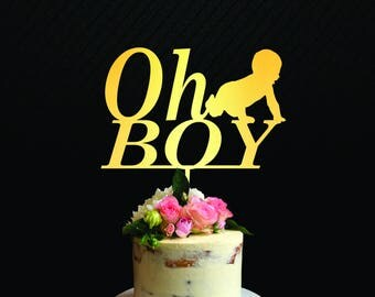 Oh Boy Cake Topper Boy Baby Shower Cake Topper Gender Reveal Party Navy Blue Party Supplies Baby Boy Cake Topper Boy Baby Shower Decorations