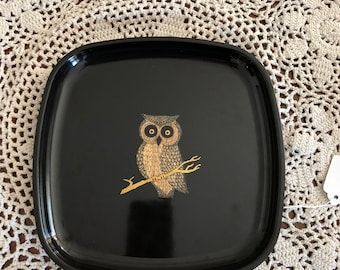 Vintage Couroc Mid Century Modern Tray - Inlaid Tray - Owl Design