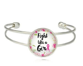Fight like a Girl Breast Cancer Awareness Bracelet Pink Ribbon Cuff Braceley Breast Cancer Jewelry Pink Ribbon Bangle